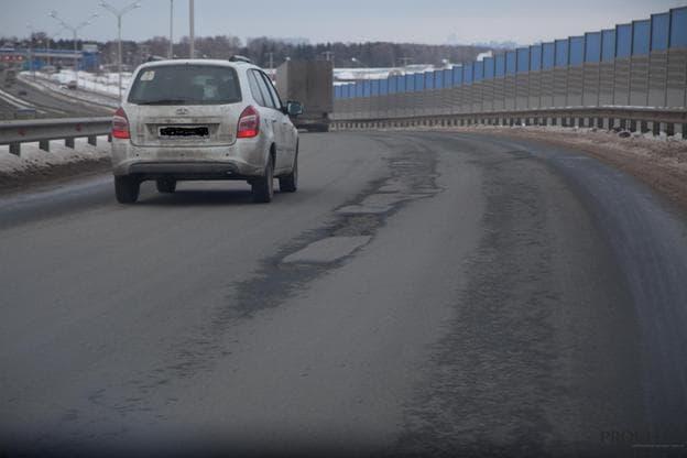 На трассе Уфа – Аэропорт опять появились ямы и колея