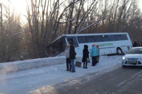 ВДТП вБашкирии пассажирский автобус улетел вкювет